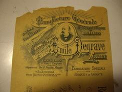 ROUBAIX  EMILE DEGRAVE   Manifacture Générale 1890-99 Chèque - Chèques & Chèques De Voyage