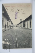 Old Postcard Nicaragua - Calle Del Comercio - Granada - Tram And People - Posted - Nicaragua
