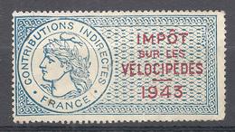 TIMBRE FISCAL IMPOT SUR LES VELOCIPEDES 1943 NEUF - Fiscaux