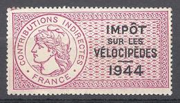 TIMBRE FISCAL IMPOT SUR LES VELOCIPEDES 1944 NEUF SANS CHARNIERE *** - Fiscaux