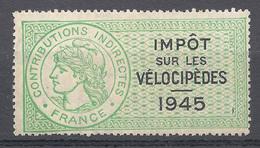 TIMBRE FISCAL IMPOT SUR LES VELOCIPEDES 1945 NEUF SANS CHARNIERE *** - Fiscaux