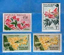 (MN1)  GABON**-1961 - FLEURS - YV. 153-154-155-156.  MNH. Vedi Descrizione - Gabon (1960-...)