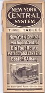 Toerisme Tourisme - Time Tables March 1938 - Trains New York Central System - Dienstregeling Treinen - Wereld