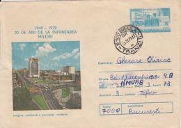 65431- BUCHAREST UNIVERSITY SQUARE, TRAFFIC, ROMANIAN POLICE ANNIVERSARY, COVER STATIONERY, 1979, ROMANIA - Police - Gendarmerie