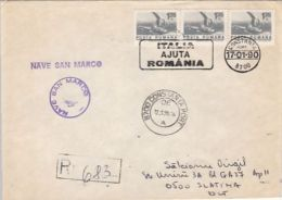 65490- SAN MARCO ITALIAN NAVY SHIP SPECIAL POSTMARK ON REGISTERED COVER, SHIP STAMPS, CONSTANTA HARBOUR, 1990, ROMANIA - Barche