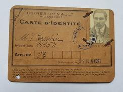 1921 Boulogne Billancourt - Usines Renault - Carte D'Identité - Atelier 23 - Mr Crespin - Unclassified