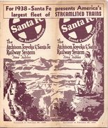 Toerisme Tourisme - Time Tables Feb 1938 - Atchison Topeka & Santa Fé Railway System - Dienstregeling Treinen - Trains - World