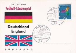 Germany Card 1967 Fussball Länderspiel Deutschland - England In Augsburg  (DD7-4) - Covers & Documents