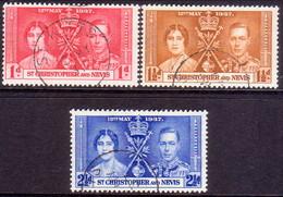ST KITTS_NEVIS 1937 SG #65-67 Compl.set Used Coronation - St.Christopher-Nevis-Anguilla (...-1980)