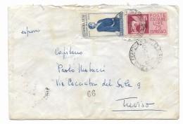 Francobollo   Lire 25 Eleonora Duse  + Espresso Lire 75   Su Busta  Anno 1959 - 6. 1946-.. Repubblica