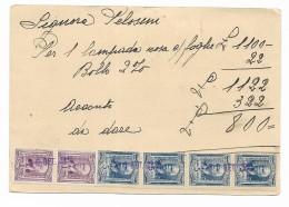 Francobolli  4 Da Lire 5 + 2 Da Lire 1  Su Cartolina Anno 1941 - Oblitérés