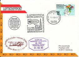 Austria UN Cover 3. Luftschiffpost Der Pro Juventute 31-3-1993 - 1991-00 Storia Postale