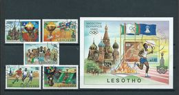 1980 Lesotho Complete Set+M/Sheet Olympic Games Moscow Used/gebruikt/oblitere - Lesotho (1966-...)