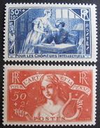 LOT BP/192 - 1935 - AU PROFIT DES CHÔMEURS INTELLECTUELS - N°307 à 308 NEUFS** - Cote : 141,00 € - France
