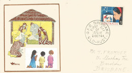 L'Enfant Et La Crèche, Noël Australien, Sur Lettre De Brisbane, Année 1964 - Christmas