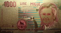 Billet Plaqué Or 24K Italie 1000 Lires NEUF - Italie