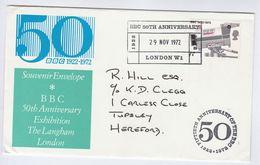 1972 BBC 50th Anniv EXHIBITION EVENT AT LANGHAM COVER Broadcasting Television Tv Camera Stamps Gb Radio - Telecom