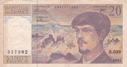 BILLETE DE FRANCIA DE 20 FRANCS DEL AÑO 1993 SERIE B.039 (BANKNOTE) CLAUDE DEBUSSY - 20 F 1980-1997 ''Debussy''