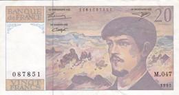 BILLETE DE FRANCIA DE 20 FRANCS DEL AÑO 1995 SERIE M.047 (BANKNOTE) CLAUDE DEBUSSY - 20 F 1980-1997 ''Debussy''