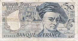 BILLETE DE FRANCIA DE 50 FRANCOS DE QUENTIN DE LA TOUR DEL AÑO 1990 - 1962-1997 ''Francs''