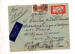 Lettre  Cachet Oran Sur Alger  Sahara + Flamme Lyon Poste Aerienne + Muette Besançon - Algeria (1924-1962)