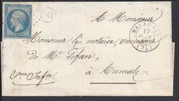 FR - N° 14 A Oblitéré Losange PC 1846 - Cachet OR - Lettre De Malaunay Du 17 Juin 1861 Pour Aumale - B/TB - - Storia Postale