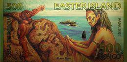 Billet Plaqué Or 24K  Rapa Nui Ile De Pâques 500 Rongo  NEUF - Andere - Oceanië