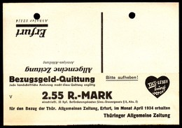 A7198 - Alte Postkarte - Bedarfspost - Erfurt - Bezugsgeld Qutittung 2,55 RM - Deutschland