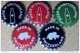 5 Swiss Coca-Cola Kronkorken Switzerland Made Promotion Soda Bottle Crown Caps Set Coke Chapas Capsules - Soda