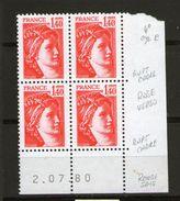 Sabine 2102**_2/7/80_4° Tirage De 3 Jours_rouge Vif - Coins Datés