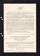 GAND BRUXELLES Jeanne Baronne VAN LOO Vicomtesse DAVIGNON 1885-1952 Faire-part Mortuaire 2 Volets Complets - Décès