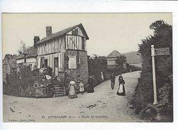 CPA Animée Saint Valery En Caux Vittefleur Route De Veulettes Leclerc Cany - Saint Valery En Caux
