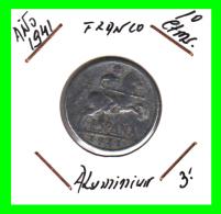 ESPAÑA  MONEDA DE 10 CENTIMOS .  ALUMINIO  AÑO  1941 - [ 4] 1939-1947 : Gobierno Nacionalista