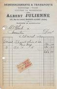 Factures  1920 Albert JULIENNE (déménagement Et Transports - Voitures De Promenade) 125 Rue De Créteil Maisons Alfort - Transports