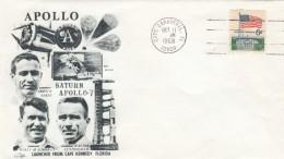 Apollo 7 Illustrated Cover, Astronauts Schirra Cunningham Eisele, Cape Canaveral Florida Postmark 11 October 1968 - Cartas