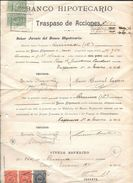 BANCO HIPOTECARIO DE CHILE TRASPASO DE ACCIONES DOCUMENTO AÑO 1926 CON TIMBRES FISCALES - Chile