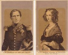 Roi Des Belges Léopold Ier Et Reine Louise-Marie Chromos Format CDV Vers 1880 - Photos