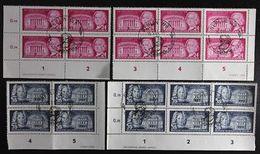 """1953 DDR; Serie """"Baumeister"""" 4er Blocks Mit DV Und DZ, MiNr. 382/83, ME 40,- - Gebraucht"""