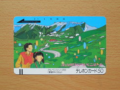 Japon Japan Free Front Bar, Balken Phonecard - 110-4876 / Alpine Series No. 1 / Hotel Tateyama And Murodo - Peinture