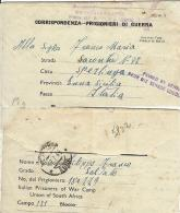 BIGLIETTO PRIGIONIERI POW CAMP SUD AFRICA ZONDERWATER 1944 SPERLINGA - Posta Militare (PM)