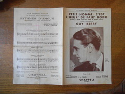 PETIT HOMME C'EST L'HEUR' DE FAIR' DODO GUY BERRY PAROLES LOUIS HENNEVE ET L.PALEX MUSIQUE MABEL WAYNE 1934 - Partitions Musicales Anciennes