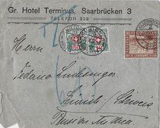 1910 SCHWEIZER WAPPEN UND ALPENROSEN - Brief Saarbrücken Nach Zürich SBK-37&32 - Portomarken