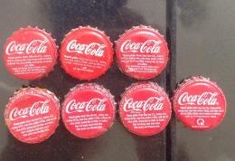 Lot Of 7 Different Vietnam Viet Nam Coca Coke Crown Cap / Kronkorken / Chapa / Tappi / Capsule - Caps