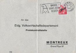 1942 FREIMARKEN MIT AUFDRUCK OFFICIEL - Brief Preiskontrollstelle Montreux - Basel SBK-50 - Officials