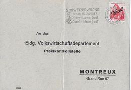 1942 FREIMARKEN MIT AUFDRUCK OFFICIEL - Brief Winterthur Nach Montreux Preiskontrollstelle SBK-50 - Servizio