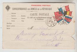2 CPA MILITAIRE GUERRE 1914/18 CPFM - Modèle 7 Drapeaux + Joffre Avec Trèfle 4 Feuilles - Marcophilie (Lettres)