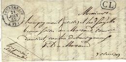 1852- Lettre De BOURGANEUF ( Creuse )  Cad T15 + C L  Encadré Noir -taxe 1d  Courrier Local - Marcophilie (Lettres)