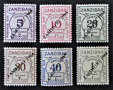 TIMBRES-TAXE SURCHARGES 1964 - NEUFS ** - YT 15/20 - TRES RARES !!! - Zanzibar (1963-1968)