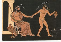 K2. Greece Fine Art Ancient Motive Zeus And Ganymedes Posted Postcard By Olimpic Color - Antiquité