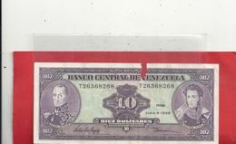 BANCO CENTRAL DE VENEZUELA . 10 BOLIVARES . JUNIO 5. 1995 . MANQUE DE PAPIER SUR LE BORD HAUT .N° T26368268. 2 SCANES - Venezuela